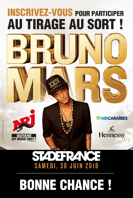 Nrj Guyane t'envoie voir Bruno Mars en concert au stade de France à Paris