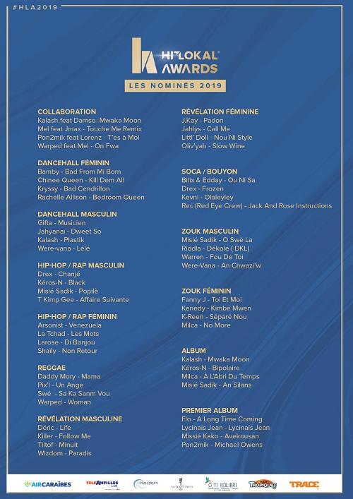 Les nominés des Hit Lokal Awards 2019